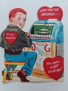 1950s-Vtg-MECHANICAL-GUY-Fonzie-Jacket-JUKEBOX-Records-VALENTINE-GREETING-CARD