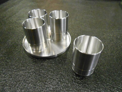 """SHOT GLASS SET CUSTOM CNC MACHINED SNAP-ON SOCKET REPLICA /""""SET OF 4 WITH TRAY/"""""""