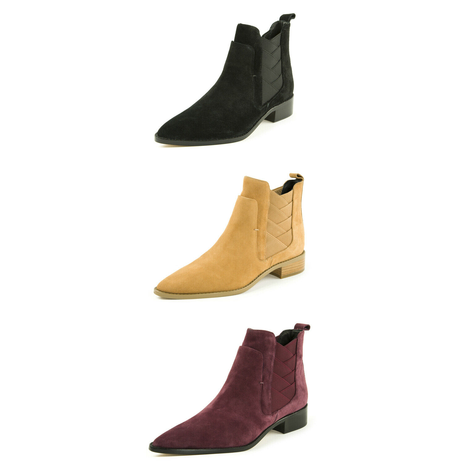 REBECCA MINKOFF Women's Jacy Suede Pointed Toe Ankle Boots  195 NIB