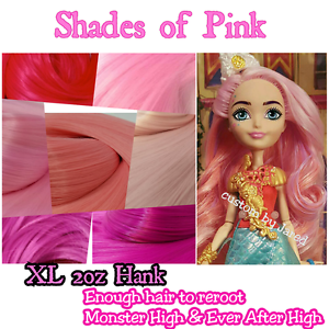 xl 2oz nylon doll hair shades of pink for rerooting