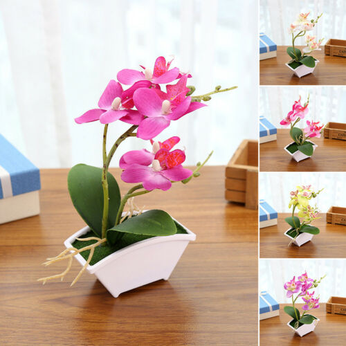Artificial Orchid Phalaenopsis Silk Flowers Plant In Pot Home Decoration