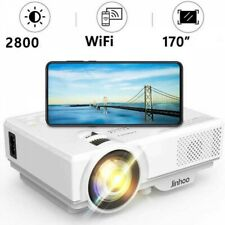 VGA Jinhoo WiFi Projector USB for Home Theater AV 50000 Hours Lamp Lifetime Movie and More Compatible with HDMI 3800 Lux 1080P Supported HD Mini Projector with 176/'/' Projector Size