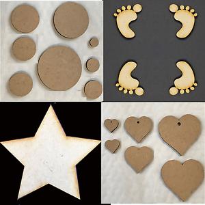 MDF Wooden Shapes Baby Feet Butterflies Circles Hearts Stars Craft Embellishment