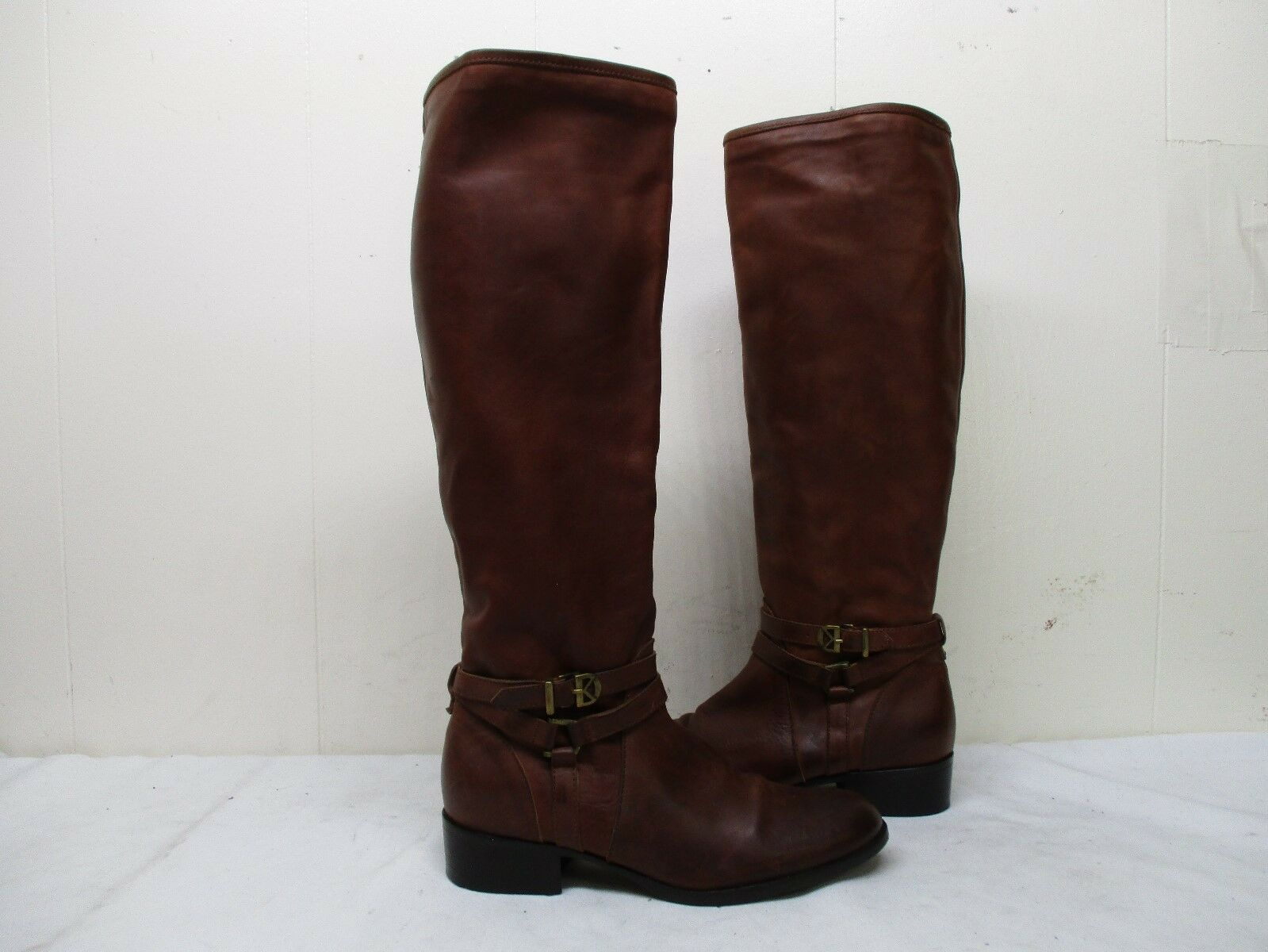 Dee Keller  Brown Leather Zip Riding Boots Womens Size 38 EUR