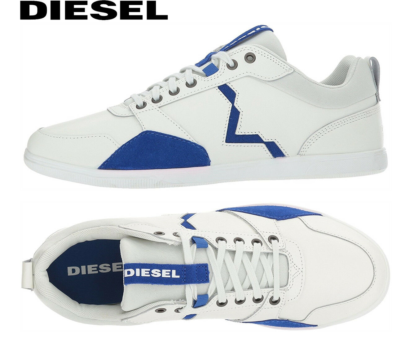 Diesel Shoes White Happy Hours S-Tage Sneakers Mens Y01497 P1396 H6406 NEW