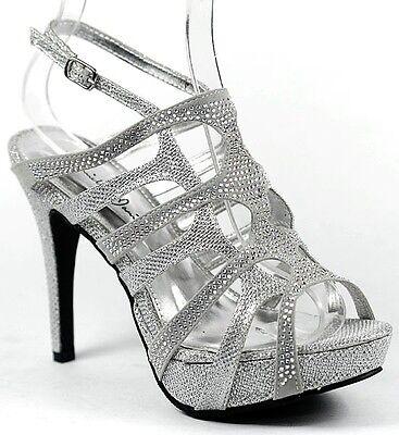 Silver Rhinestone Jeweled Strappy High Heel Slingback Platform Prom Dress Sandal