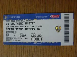 10042010 Ticket Leeds United v Southend United  CreasedFolded - Birmingham, United Kingdom - 10042010 Ticket Leeds United v Southend United  CreasedFolded - Birmingham, United Kingdom