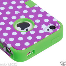 iPhone 4 4S T ARMOR HYBRID SNAP ON CASE SKIN COVER PURPLE/WHITE DOTS GREEN