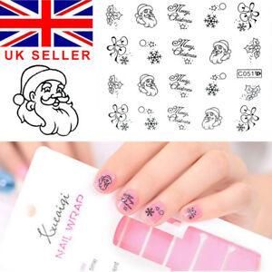 Nail-Art-Water-Decals-Transfers-Metallic-Christmas-Xmas-Santa-Snow-C051-Silver