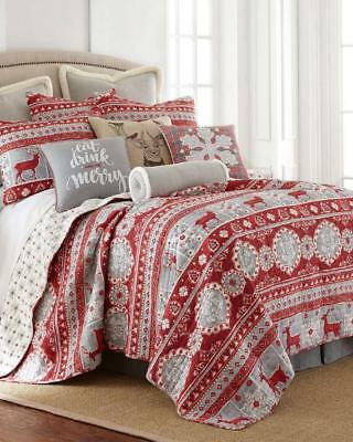 NEW Christmas Silver Fair Isle Reindeer KING Quilt Set w// 2 Standard Shams