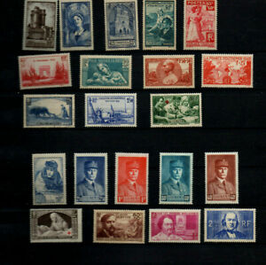 France-21-timbres-neufs-annees-38-40-cote-gt-150