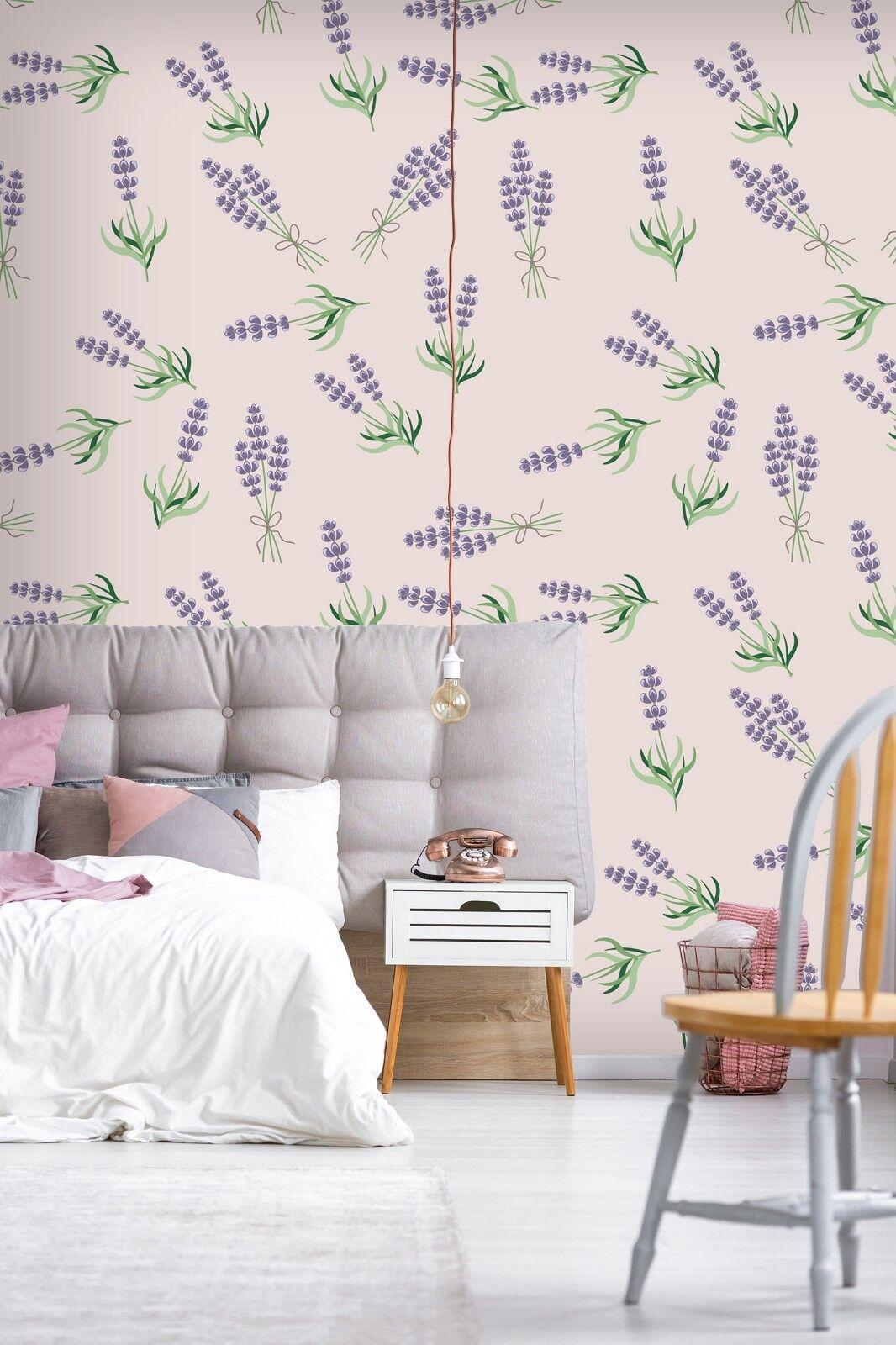3D Lila Blaumen Gras 810 Tapete Wandgemälde Tapete Tapeten Bild Familie DE Lemon