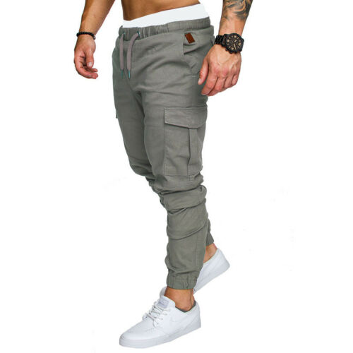Men/'s Gym Joggers Multi Pockets Pants Casual Bodybuilding Sport Skinny Trousers