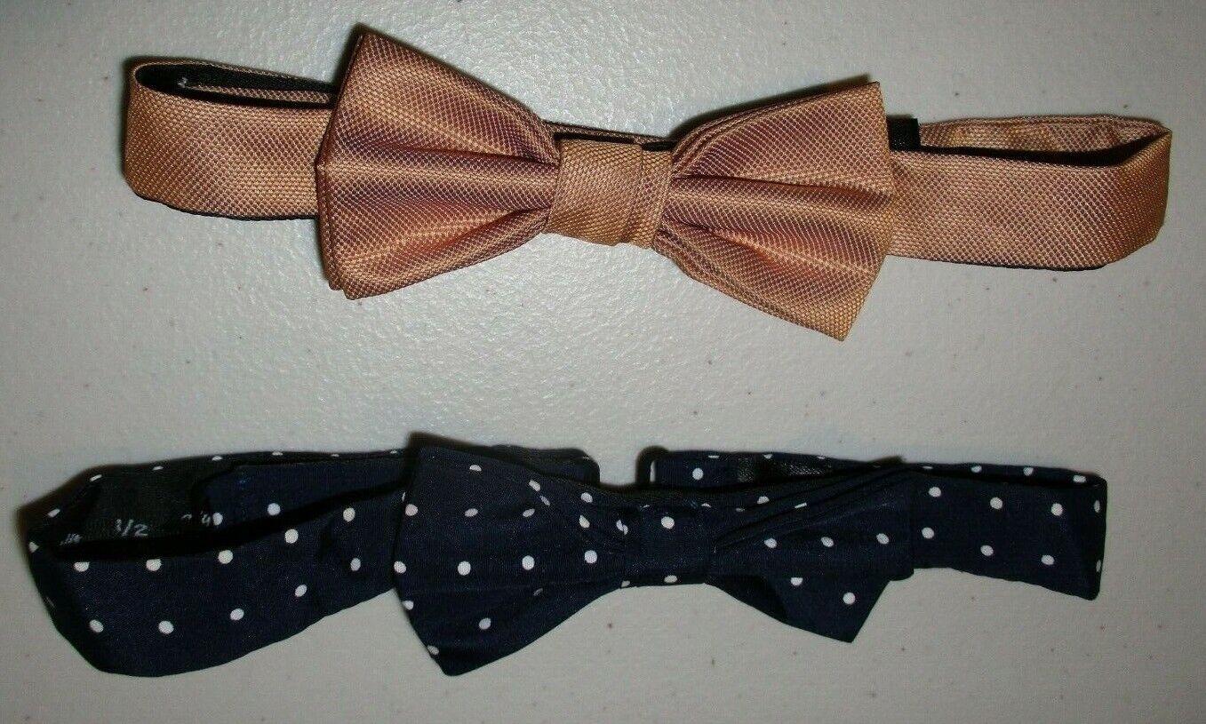 2 Asos Women's Bow Ties Bronze & Navy Blue & White Polka Dot~ Perfect Condition!