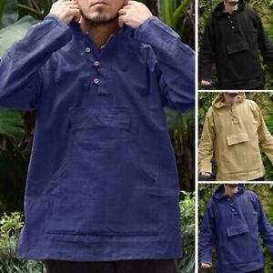 Mens-Long-Sleeve-Hooded-T-shirt-Linen-Hoodies-Casual-Loose-Blouse-Shirt-Top-Tee