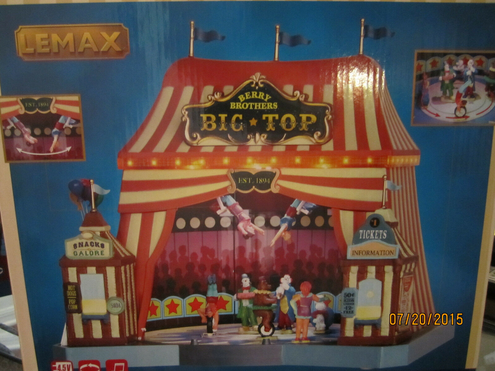 TRAIN TRAIN TRAIN VILLAGE HOUSE   LIGHTS,SOUND,MOTION CARNIVAL BIG TOP   +DEPT 56 LEMAX info 87cdd3