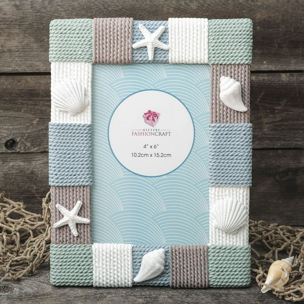 18 Sea Shells & Knitted Rope Look Photo Frame Wedding Bridal Shower Party Favors