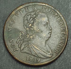 1819-Portugal-John-VI-Joao-Large-Bronze-40-Reis-Pataco-Coin-39-14gm