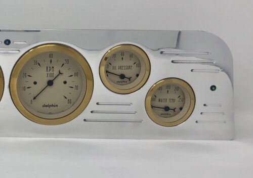 1966 GMC Truck 6 Gauge Dash Panel Insert Set Billet Aluminum Gold