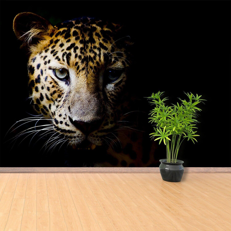 Papier-Fototapete Fototapeten Tapete aus Papier Poster Foto Leopard Katze