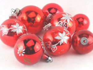 Set-of-Eight-Vintage-Red-Christmas-Ornaments-Glitter-Shiny-Brite-Poland-MCM