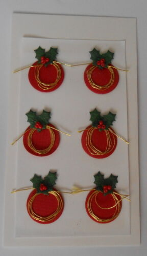 *BARGAIN* RED XMAS WIRE PUDDINGS EMBELLISHMENTS FOR CARDS /& CRAFTS-BARGAIN 99P