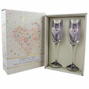 Set-Deux-Champagne-Flutes-Mariage-Fiancailles-Anniversaire-Cadeau-Romantique