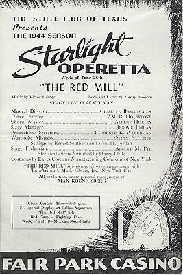 1944 State Fair of Texas Presents 'Starlight Operetta' Program-The Red  Mill-LOTG | eBay