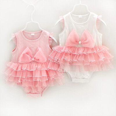 Newborn Baby Girl Clothes Infant Bodysuit Kids Romper Princess Bowknot Pink 0-9M