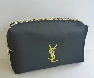 0fd8b4192f Image is loading YSL-Black-Makeup-Cosmetics-Bag-with-gold-trim-