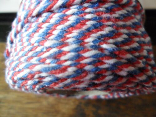 Bakes ficelle 100/% coton 2 plis//2 mm Bobine 100mtr-Rouge Blanc /& Bleu