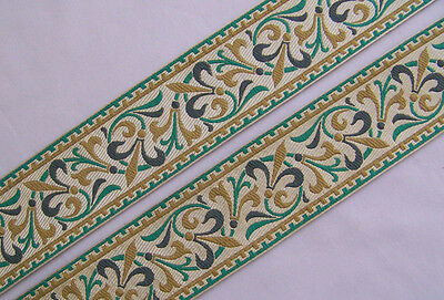 Wide Jacquard Trim Antique Reproduction Fleur De Lis