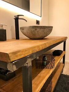 Dettagli su Mobile bagno tavolo consolle legno massello larice stile  industrial 160x50 h80
