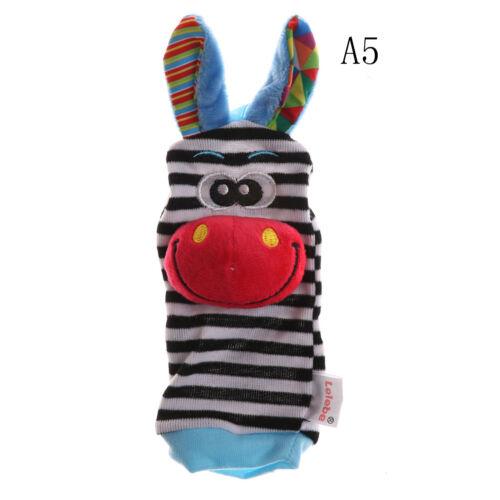 Multi shape Soft Toy Animal Baby Infant Kids Hand Wrist Bells Foot Sock Rattles/&