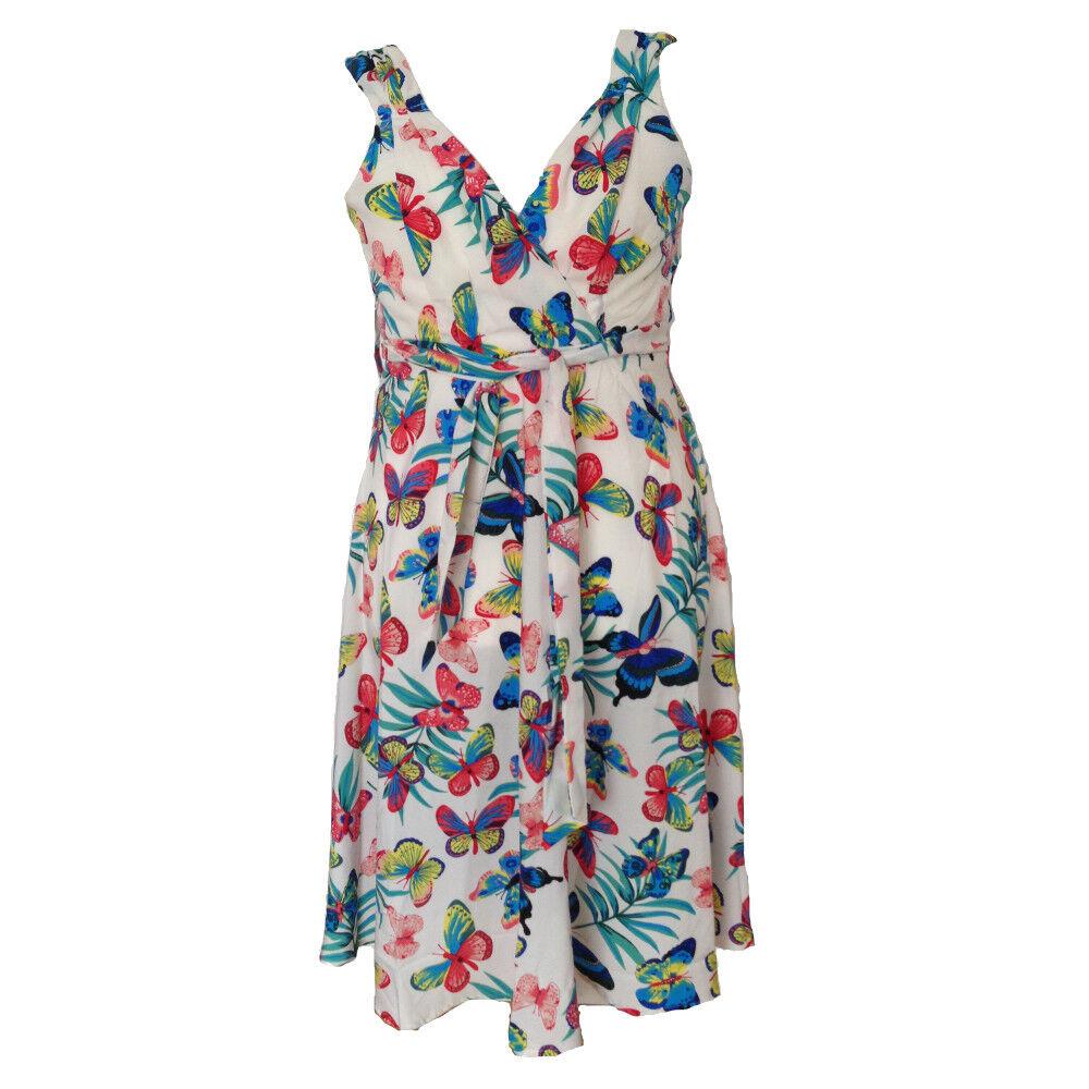 Retro Dress Swing Print Butterfly rot Weiß Vintage