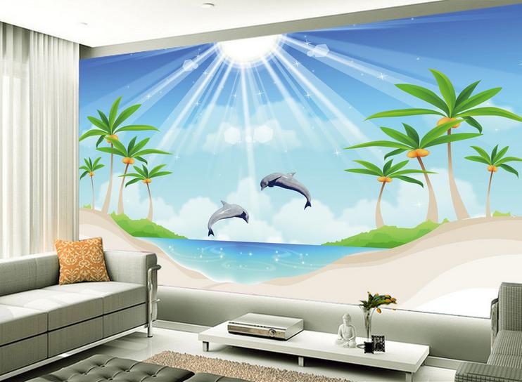 3D Sonnenschein-Delphin 853 Tapete Wandgemälde Tapete Tapeten Bild Familie DE   Tragen-wider    Die Qualität Und Die Verbraucher Zunächst   