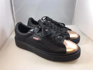1dd8f9732ad PUMA Women s Platform BASKET Sneaker Black Leather METALLIC Rose ...