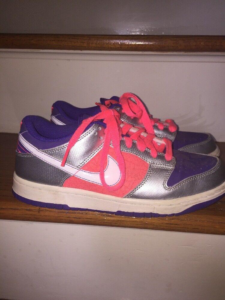 NIKE DUNK LOW LEATHER BASKETBALL RUN Pink Silver Purple WOMENS TENNIS SHOES Sz 8