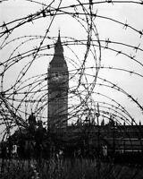 8x10 World War Ii Photo: Big Ben & Houses Of Parliament Behind Barbed Wire