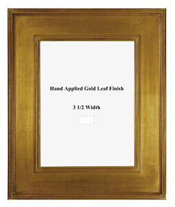 8 x 10 Arts & Crafts Style Picture Frame Hand Applied Gold Metal Leaf