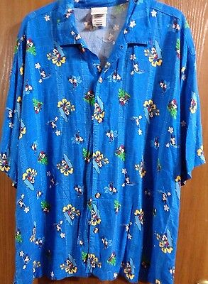 Mens Clothes: DISNEY STORE Hawaiian Aloha Shirt Size XL Mickey Mouse Surfing