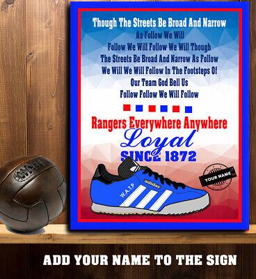 PERSONALISED RANGERS FOOTBALL FANS WATP TRAINER SONG RETRO Metal Sign RS434