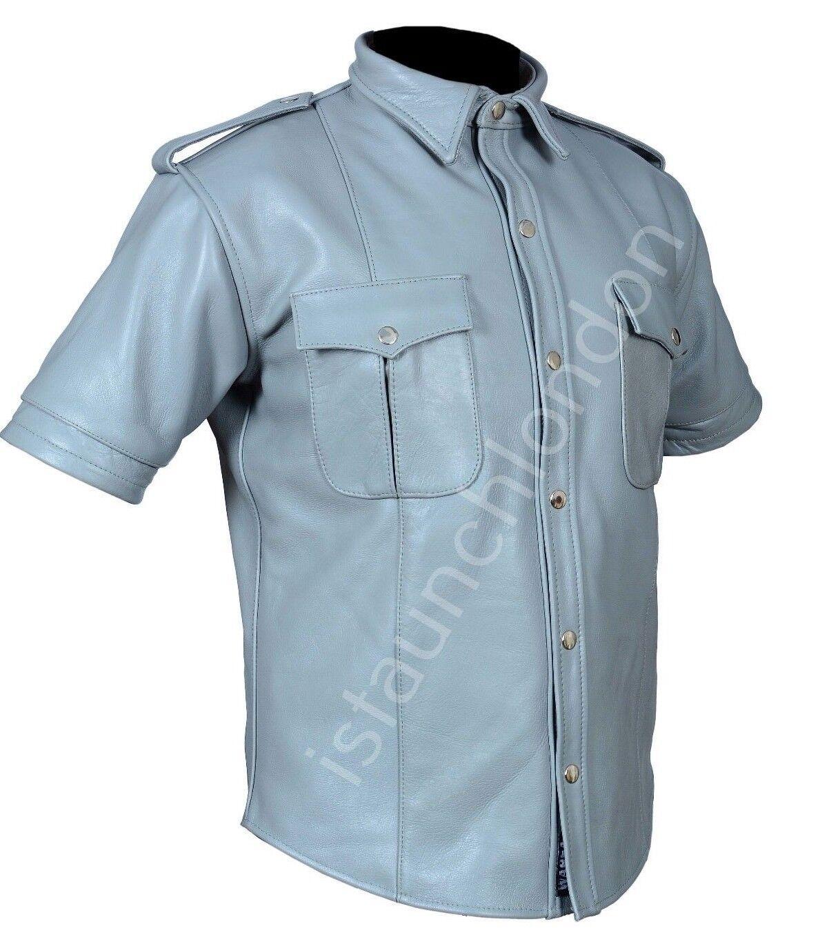 PREMIUM Men Hot Genuine Real Grey Cowhide LEATHER Police Uniform Shirt blueF Gay