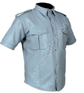 PREMIUM-Men-Hot-Genuine-Real-Grey-Cowhide-LEATHER-Police-Uniform-Shirt-BLUF-Gay