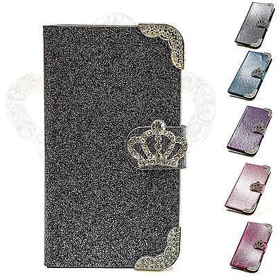 Luxus Strass Handy Tasche Schutz Hülle Case Cover Flip Etui Kronen Motiv M216