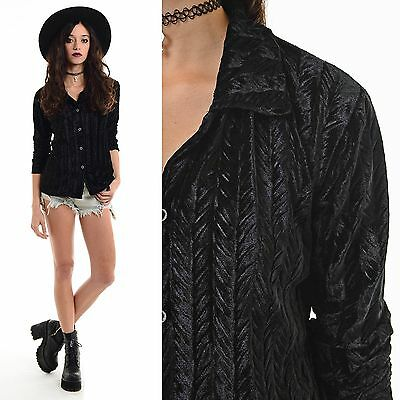 Vintage 90s VELVET Textured Shirt Top Blouse Goth Grunge Witchy Club-Kid Cyber