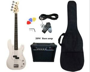 Christmas Gift ! Bass Guitar 20W Amp Package White for Beginners PB87220 Canada Preview