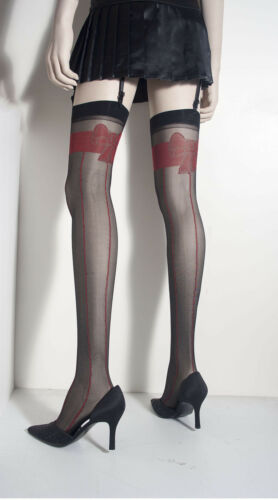 WOVEN RED PIN STRIP BOW TOP SHEER BLACK THIGH HIGH STOCKINGS BY CHERRITA NIB