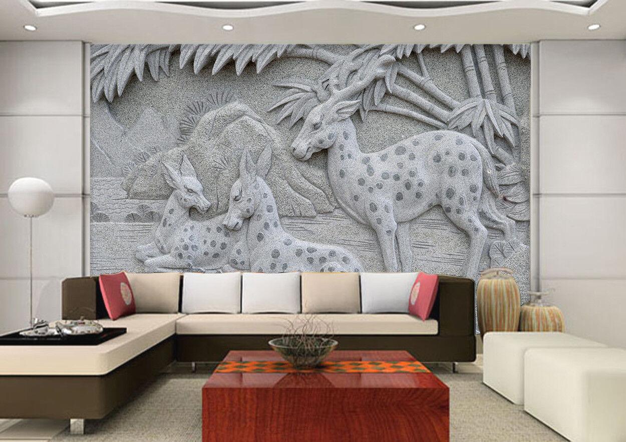 3D Emboss Deer 792 Wallpaper Mural Wall Print Wall Wallpaper Murals US Lemon