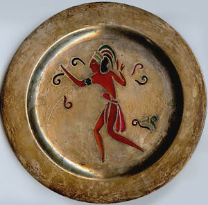 LOS-CASTILLO-MEXICO-VINTAGE-SILVER-COLORFUL-TRANSPARENT-AZTEC-INDIAN-MAN-PLATE